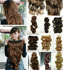 Full Head Clip In Hair 50cm-60cm Long Wavy Curly Synthetic Hair Extensions,110gr