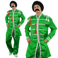 GREEN SERGEANT PEPPER MENS FANCY DRESS COSTUME 1960S ENGLISH ROCK BAND OUTFIT