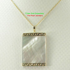25mm x 35mm White Mother of Pearl Board Pendant Necklace 14k Yellow Gold TPJ