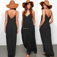 WOMEN SLEEVELESS BOHO LONG MAXI POLKA DOT EVENING PARTY SUMMER BEACH SEXY DRESS