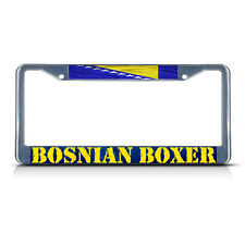BOSNIAN BOXER, BOSNIA WAVY FLAG Metal License Plate Frame Tag Border Two Holes
