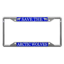 SAVE THE ARCTIC WOLF WOLVES ANIMAL Metal License Plate Frame Four Holes