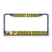DESERT STORM 3RD ARMORED DIVISION ARMY Metal License Plate Frame Tag Border