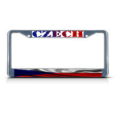 CZECH, CZECH WAVY FLAG Metal License Plate Frame Tag Border Two Holes