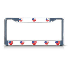 LOVE HEART UNITED STATES COUNTRY FLAG Metal License Plate Frame Tag Border