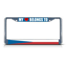 CZECH REPUBLIC MY HEART BELONGS TO Metal License Plate Frame Tag Border