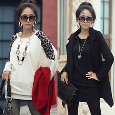 Deluxe Women's Leopard Print Long Sleeve Casual Loose T-shirt Tops Blouse