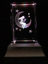 Fairy On Moon Star Laser Inscribe Crystal LED Night Light Gift FRY18