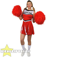 LADIES RED HIGH SCHOOL CHEERLEADER ADULTS FANCY DRESS COSTUME WITH POM POMS