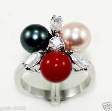 Fashion Women's 8mm Mix Colors South Sea Shell Pearl Crystal Ring Size 7/8/9