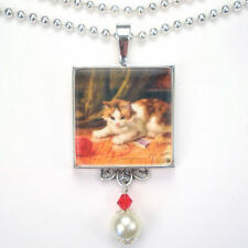 CAT KITTEN WITH BALL RED YARN  'VINTAGE CHARM' SILVER OR BRONZE PENDANT NECKLACE