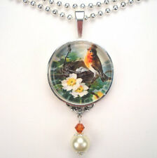 RED ROBIN BIRD NEST EGGS 'VINTAGE CHARM' SILVER OR BRONZE ART PENDANT NECKLACE