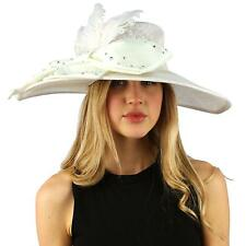 Fancy Kentucky Derby Floppy Crystals Feathers Big Ribbon Bow Church Hat White