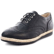 Kidderminster Low Wedge Womens Brogues Black New Shoes