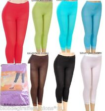 * 9 Colors * Lace Hem Capri Length Stretch Footless Tights OS