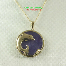 14k Yellow Solid Gold Dolphin Design 25mm Disc Tablet Lavender Jade Pendant TPJ