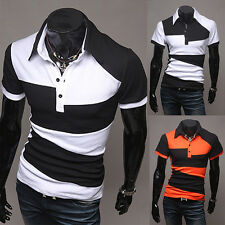 Fashion Mens Cotton Short Sleeve Slim Fit Polo Shirt T-Shirts Casual Shirts Tops