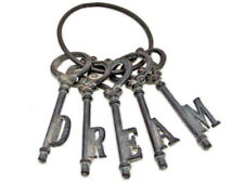 Inspirational Old Style Shabby Rustic Metal Cast Iron Set Of Dream Keys On Ring