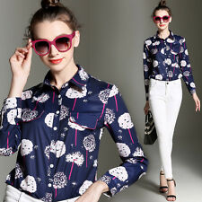 Spring/Autumn Fashion Womens OL Long Sleeve Shirt Printed Commuter Tops Blouses