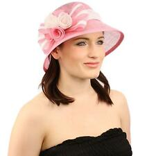 Summer 1920s Flapper Sinamay Floral Bow Cloche Bucket Millinery Church Hat Pink