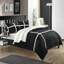 Chloe Plush Microsuede Sherpa Lined Black 7 Piece Comforter Bed In A Bag Set