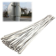 100Pcs Chrome Stainless Steel Header Wrap Straps Self Locking Cable Zip Ties