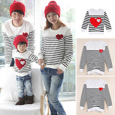 New Family Fitted Kids Men Women Couple Stripe Cotton T-Shirt Lovers Clothing