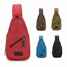 Men&Women Canvas Travel Cross Body Messenger Shoulder Back pack Sling Chest Bag