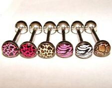 ANIMAL PRINT LOGO TONGUE BAR 16MM 1.6MM 14G YOU CHOOSE