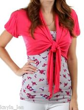 Hot Pink Cap Sleeve Tie Front Cropped Bolero Shrug Cardigan/Wrap/Cover-Up