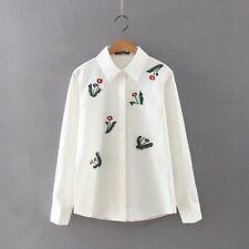 New Womens White Floral Embroidered Long Sleeve Button Down Shirt Blouse Tops