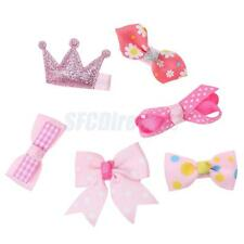 6Pcs Girls Baby Mini Bow Hair Clips Grosgrain Ribbon Boutique Bowknot Hairpins