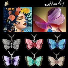 Women Fashion Crystal Painting Butterfly Silver Pendant Necklace Party Prom Gift