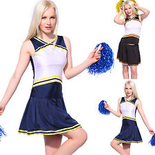 Cheerleader Printable Fancy Dress Outfit Uniform High School Costume & Pompoms