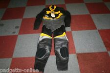 BELSTAFF SILVER BLACK YELLOW ONE PIECE LEATHER MOTORCYCLE SUIT SIZE UK 36 EU 46