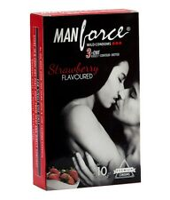 Manforce Strawberry Flavoured 3 in 1 Ribbed   Contour   Dotted Condom 10'S Pack