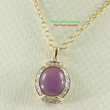 Beautiful 14k Yellow Solid Gold Diamonds Oval Cabochon Lavender Jade Pendant TPJ