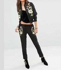 New Womens Black Floral Embroidered Elastic Waist Skinny Pencil Pants Trousers