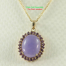 TPJ 14k Solid Yellow Gold Oval Cabochon Cut Lavender Jade & Amethyst Pendant