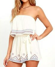 New Womens Sexy Summer Embroidered Crop Top Shorts Jumpsuit Playsuit Rompers