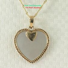 14k Yellow Solid Gold Heart in Love & Hearts Pendant White Mother of pearl TPJ