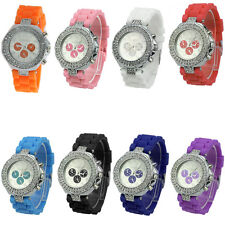 Geneva Fashion Crystal Dial Jelly Quartz Women Ladies Silicone Band Wrist Watch