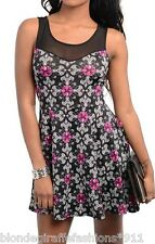 Black/White/Pink Fleur/Cross Mesh Back Sexy Mini Tunic Tank Dress S M L
