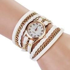 Vintage Womens Weave Wrap Leather Chain Bracelet Wrist Watch