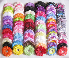 Lot 4''dot gerbera peony Daisy flowers hair clip for crochet headband 72 color