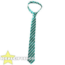 GREEN AND GREY THICK SATIN STRIPED NECK TIE SCHOOLBOY FANCY DRESS ACCESSORY