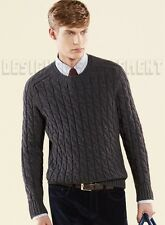 GUCCI Mens chunky Gray CABLE knit wool/ ALPACA blend sweater NWT Authentic $825!
