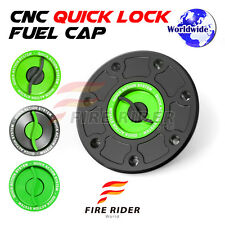 FRW BK/GR CNC Quick Lock Fuel Cap For Kawasaki ZRX 1100 99-04 99 00 01 02 03 04