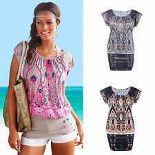 Women's Ethnic Sexy Floral Party Evening Cocktail Mini Tunic Dress Blouse Tops