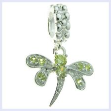 STR Silver Dragonfly Peridot CZ Crystal Dangle Bead for European Charm Bracelet